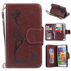 Embossing Cat Girl 9 Card Leather Wallet Case for Samsung Galaxy S5 G900 - Brown