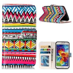 Tribal Pattern 3D Relief Oil PU Leather Wallet Case for Samsung Galaxy S5 G900
