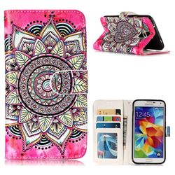 Rose Mandala 3D Relief Oil PU Leather Wallet Case for Samsung Galaxy S5 G900