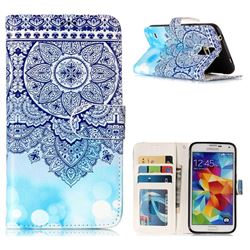 Totem Flower 3D Relief Oil PU Leather Wallet Case for Samsung Galaxy S5 G900