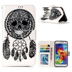 Wind Chimes Skull 3D Relief Oil PU Leather Wallet Case for Samsung Galaxy S5 G900