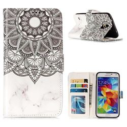 Marble Mandala 3D Relief Oil PU Leather Wallet Case for Samsung Galaxy S5 G900