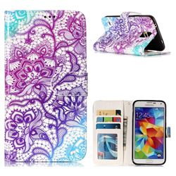 Purple Lotus 3D Relief Oil PU Leather Wallet Case for Samsung Galaxy S5 G900