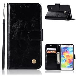 Luxury Retro Leather Wallet Case for Samsung Galaxy S5 G900 - Black