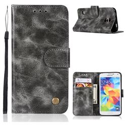 Luxury Retro Leather Wallet Case for Samsung Galaxy S5 G900 - Gray