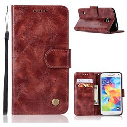 Luxury Retro Leather Wallet Case for Samsung Galaxy S5 G900 - Wine Red