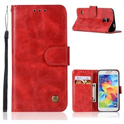 Luxury Retro Leather Wallet Case for Samsung Galaxy S5 G900 - Red