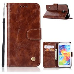 Luxury Retro Leather Wallet Case for Samsung Galaxy S5 G900 - Brown