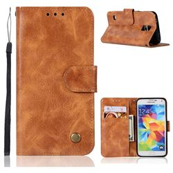 Luxury Retro Leather Wallet Case for Samsung Galaxy S5 G900 - Golden