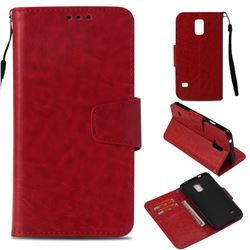 Retro Phantom Smooth PU Leather Wallet Holster Case for Samsung Galaxy S5 G900 - Red