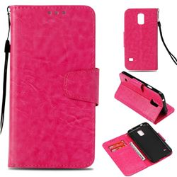 Retro Phantom Smooth PU Leather Wallet Holster Case for Samsung Galaxy S5 G900 - Rose