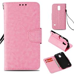 Retro Phantom Smooth PU Leather Wallet Holster Case for Samsung Galaxy S5 G900 - Pink