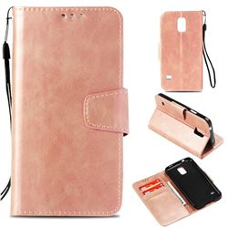 Retro Phantom Smooth PU Leather Wallet Holster Case for Samsung Galaxy S5 G900 - Rose Gold