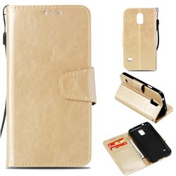Retro Phantom Smooth PU Leather Wallet Holster Case for Samsung Galaxy S5 G900 - Champagne
