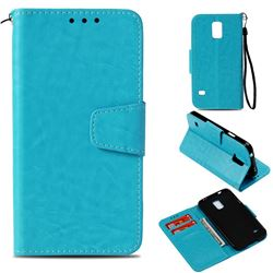 Retro Phantom Smooth PU Leather Wallet Holster Case for Samsung Galaxy S5 G900 - Sky Blue