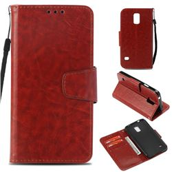 Retro Phantom Smooth PU Leather Wallet Holster Case for Samsung Galaxy S5 G900 - Brown