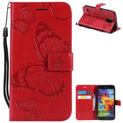 Embossing 3D Butterfly Leather Wallet Case for Samsung Galaxy S5 G900 - Red