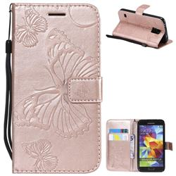 Embossing 3D Butterfly Leather Wallet Case for Samsung Galaxy S5 G900 - Rose Gold