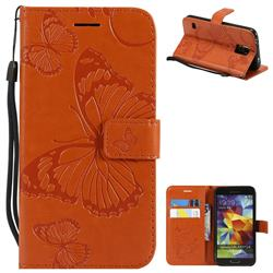 Embossing 3D Butterfly Leather Wallet Case for Samsung Galaxy S5 G900 - Orange