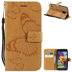 Embossing 3D Butterfly Leather Wallet Case for Samsung Galaxy S5 G900 - Yellow