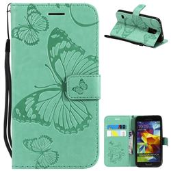 Embossing 3D Butterfly Leather Wallet Case for Samsung Galaxy S5 G900 - Green