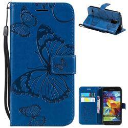 Embossing 3D Butterfly Leather Wallet Case for Samsung Galaxy S5 G900 - Blue