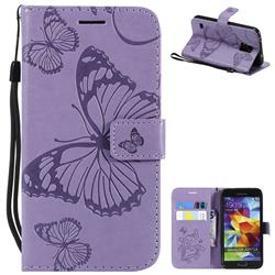 Embossing 3D Butterfly Leather Wallet Case for Samsung Galaxy S5 G900 - Purple