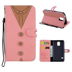 Mens Button Clothing Style Leather Wallet Phone Case for Samsung Galaxy S5 G900 - Pink