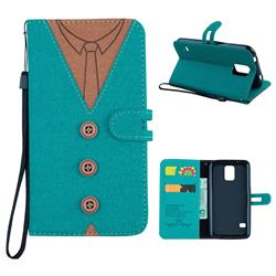 Mens Button Clothing Style Leather Wallet Phone Case for Samsung Galaxy S5 G900 - Green