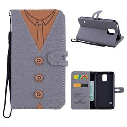 Mens Button Clothing Style Leather Wallet Phone Case for Samsung Galaxy S5 G900 - Gray