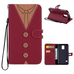 Mens Button Clothing Style Leather Wallet Phone Case for Samsung Galaxy S5 G900 - Red