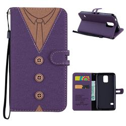 Mens Button Clothing Style Leather Wallet Phone Case for Samsung Galaxy S5 G900 - Purple