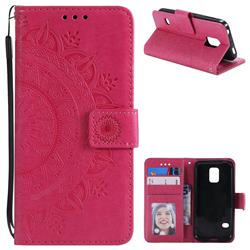 Intricate Embossing Datura Leather Wallet Case for Samsung Galaxy S5 G900 - Rose Red