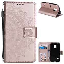 Intricate Embossing Datura Leather Wallet Case for Samsung Galaxy S5 G900 - Rose Gold