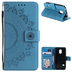 Intricate Embossing Datura Leather Wallet Case for Samsung Galaxy S5 G900 - Blue