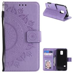 Intricate Embossing Datura Leather Wallet Case for Samsung Galaxy S5 G900 - Purple
