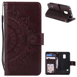 Intricate Embossing Datura Leather Wallet Case for Samsung Galaxy S5 G900 - Brown