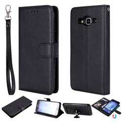 Retro Greek Detachable Magnetic PU Leather Wallet Phone Case for Samsung Galaxy S5 G900 - Black