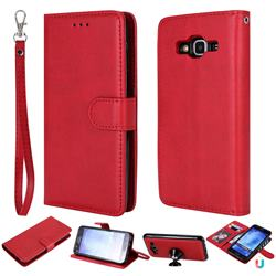 Retro Greek Detachable Magnetic PU Leather Wallet Phone Case for Samsung Galaxy S5 G900 - Red