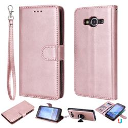Retro Greek Detachable Magnetic PU Leather Wallet Phone Case for Samsung Galaxy S5 G900 - Rose Gold