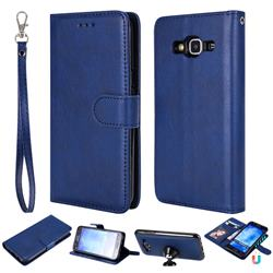Retro Greek Detachable Magnetic PU Leather Wallet Phone Case for Samsung Galaxy S5 G900 - Blue