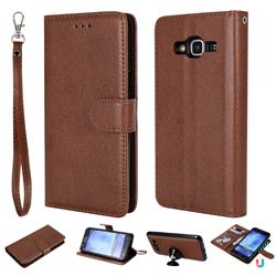 Retro Greek Detachable Magnetic PU Leather Wallet Phone Case for Samsung Galaxy S5 G900 - Brown