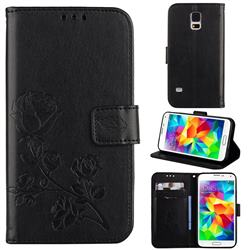 Embossing Rose Flower Leather Wallet Case for Samsung Galaxy S5 G900 - Black