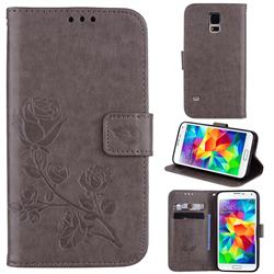 Embossing Rose Flower Leather Wallet Case for Samsung Galaxy S5 G900 - Grey