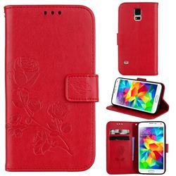 Embossing Rose Flower Leather Wallet Case for Samsung Galaxy S5 G900 - Red
