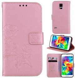 Embossing Rose Flower Leather Wallet Case for Samsung Galaxy S5 G900 - Rose Gold