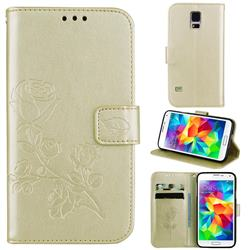 Embossing Rose Flower Leather Wallet Case for Samsung Galaxy S5 G900 - Golden