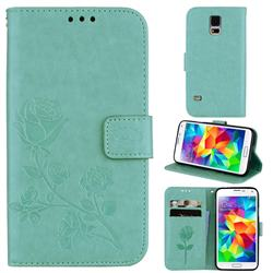 Embossing Rose Flower Leather Wallet Case for Samsung Galaxy S5 G900 - Green