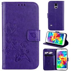 Embossing Rose Flower Leather Wallet Case for Samsung Galaxy S5 G900 - Purple