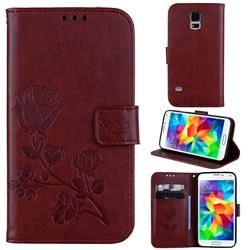 Embossing Rose Flower Leather Wallet Case for Samsung Galaxy S5 G900 - Brown